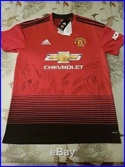 2018-2019 Squad Signed Manchester United Man Utd Home Football Shirt