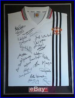 25 Legends Signed Manchester United 1978 Centenary Shirt Framed AFTAL COA RARE