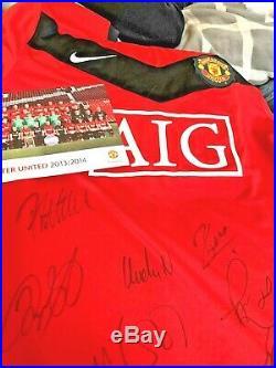 35 Manchester United Team Signed Football Shirt + COA & presentation Folder