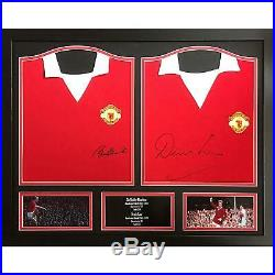 Bobby Charlton & Dennis Law Autographed Manchester United Framed Signed Shirts
