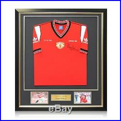 Bryan Robson Signed Manchester United 1985 FA Cup Final Shirt. Framed