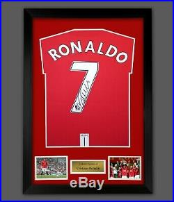Cristiano Ronaldo Hand Signed Manchester United Fc Football Shirt In A Frame