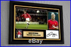 David Beckham Manchester United A3 Framed Canvas Print Hand Signed AFTAL Cert
