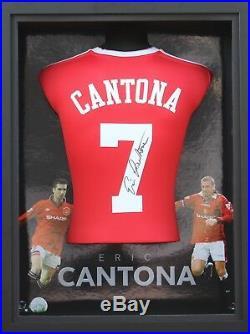 Eric Cantona Hand Signed Manchester United Shirt FRAMED