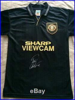 Eric Cantona Signed Manchester United Man Utd Retro Kung Fu Kick Shirt