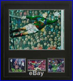FRAMED PETER SCHMEICHEL SIGNED 16x20 MANCHESTER UNITED FOOTBALL PHOTO PROOF