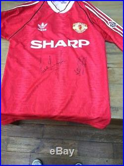Football signed retro Replica shirt Manchester United Lee Sharpe & Paul Parker