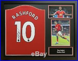 Framed Marcus Rashford Signed Manchester United Football 2019 Shirt Proof & Coa
