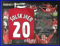 Framed Ole Gunnar Solskjaer Signed Manchester United Champions League 1999 Shirt
