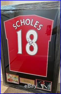 Framed Paul Scholes Signed Manchester United Shirt- Number 18 With COA