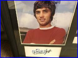 George Best Manchester United Original Art Work With Signed Menu By Best & Law