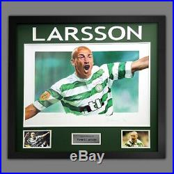 Henrik Larsson Hand Signed Celtic Fc Football Art Print In A Framed Presentation