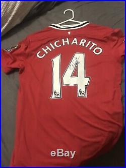 Javier Hernandez Chicharito 14 Manchester United Signed Shirt Nike M 2011 /12