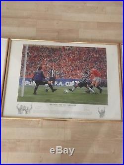 Man United'Treble' Set of 3 prints. Limited Edition Set. 1999 (signed)