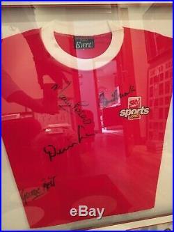 Man Utd George Best, Charlton, Law & West Ham legend Martin Peters signed shirt