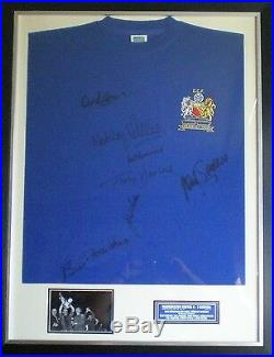 Manchester United 1968 European Cup Shirt Signed by 7 Framed AFTAL Nobby Stiles