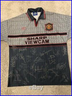 Manchester United 1995 1996 Away Squad Signed Shirt With COA Mint