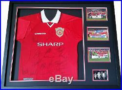 Manchester United 1999 Treble Winners shirt Signed 16 COA Beckham Giggs Stam