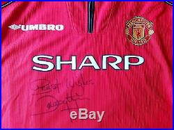 Manchester United BNWT 1998 Original Home Jersey Shirt Large Signed Dwight Yorke