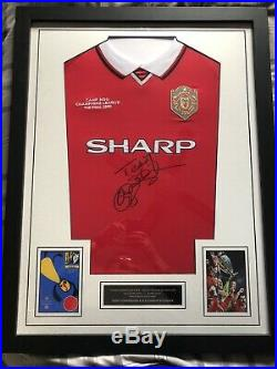 Manchester United Framed Signed Shirt 1999 Champions League Solskjaer