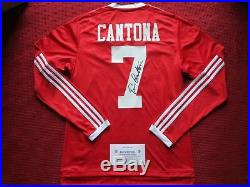 Manchester United Legend Eric Cantona Hand Signed Home Shirt Jersey -photo Proof