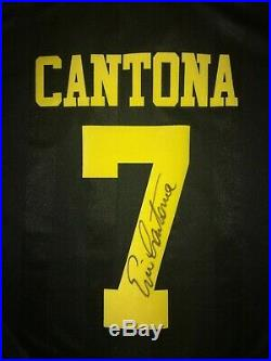 Manchester United Number 7 Kung Fu Kick Retro Shirt Signed Eric Cantona