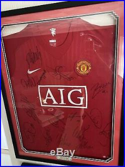 Manchester United Shirt Signed And Framed 08/09