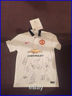 Manchester United Signed Away Shirt Full Team 2014/2015 With COA