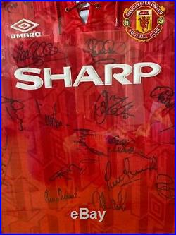 Manchester United Squad Signed 92/93 Prem Winners Football Shirt Jersey With COA