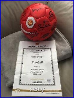 Manchester United Squad Signed Ball Club Issued Coa Inc Sir Alex Ferguson Rare