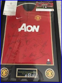 Manchester United Squad Signed Framed Shirt X20 Man Utd Club Issued Coa Rooney