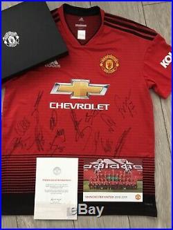 Manchester United Squad Signed Shirt 2018-19 Boxed Club Issued Coa Pogba Etc
