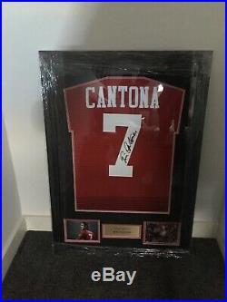 Manchester United hand signed eric cantona shirt framed