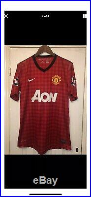 Match Worn Manchester United 2012/13 Vidic Signed Home Shirt 20th Title
