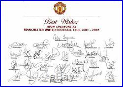 Multi Signed Manchester United 2001 Home Shirt Beckham Keane Solskjaer Giggs