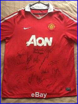Multi Signed Manchester United 2010 2011 Home Shirt Giggs Scholes Rooney Owen