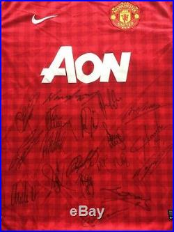 Multi Signed Manchester United 2012 2013 Home Shirt Giggs Scholes Rooney