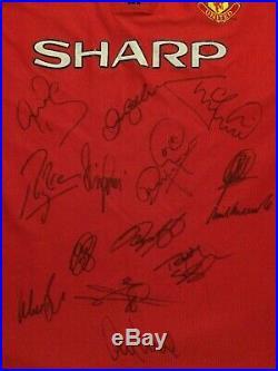 Multi Signed Manchester United Man Utd Treble Shirt 1998 1999 Beckham Schmeichel