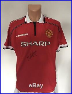 OLE GUNNAR SOLSKJAER SIGNED MANCHESTER UNITED FA Cup 1999 Treble Shirt Inc C. O. A