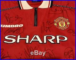 Rare, GENUINE, Manchester United 1998 / 1999 Treble Winners Squad Signed Shirt