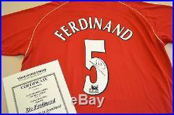 Rio Ferdinand Signed Manchester United 06/07 #5 Home Shirt Autograph Man Utd COA