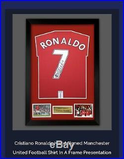 SIGNED And Framed CRISTIANO RONALDO MANCHESTER UNITED Shirt Amazing Value £250