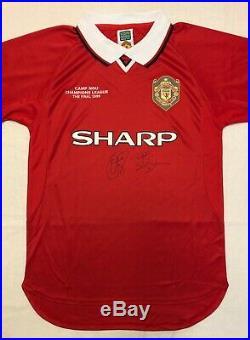 Sheringham & Solskjaer signed Manchester United 99 Champions League Final Shirt