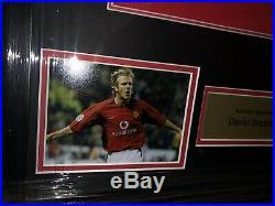 Signed David Beckham Manchester United Home Shirt England Framed
