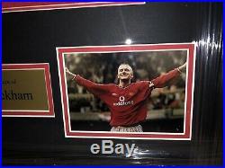 Signed David Beckham Manchester United Home Shirt England Framed Home Numbered