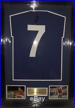 55ae5aa5e Signed Framed Manchester United Retro 1968 Home Shirt By George Best ...