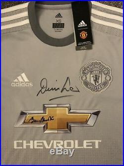 Signed Manchester United Man Utd 2017/18 3rd Shirt by Bobby Charlton & Denis Law