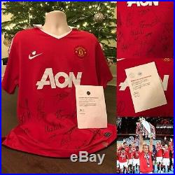 Signed Manchester United shirt 2010/2011 with COA Rooney, Vidic, Scholes etc
