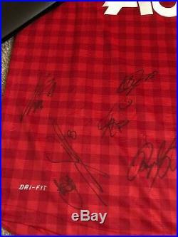 X13 Multi Signed Man Utd 12/13 Home Shirt Autograph Club COA Manchester United